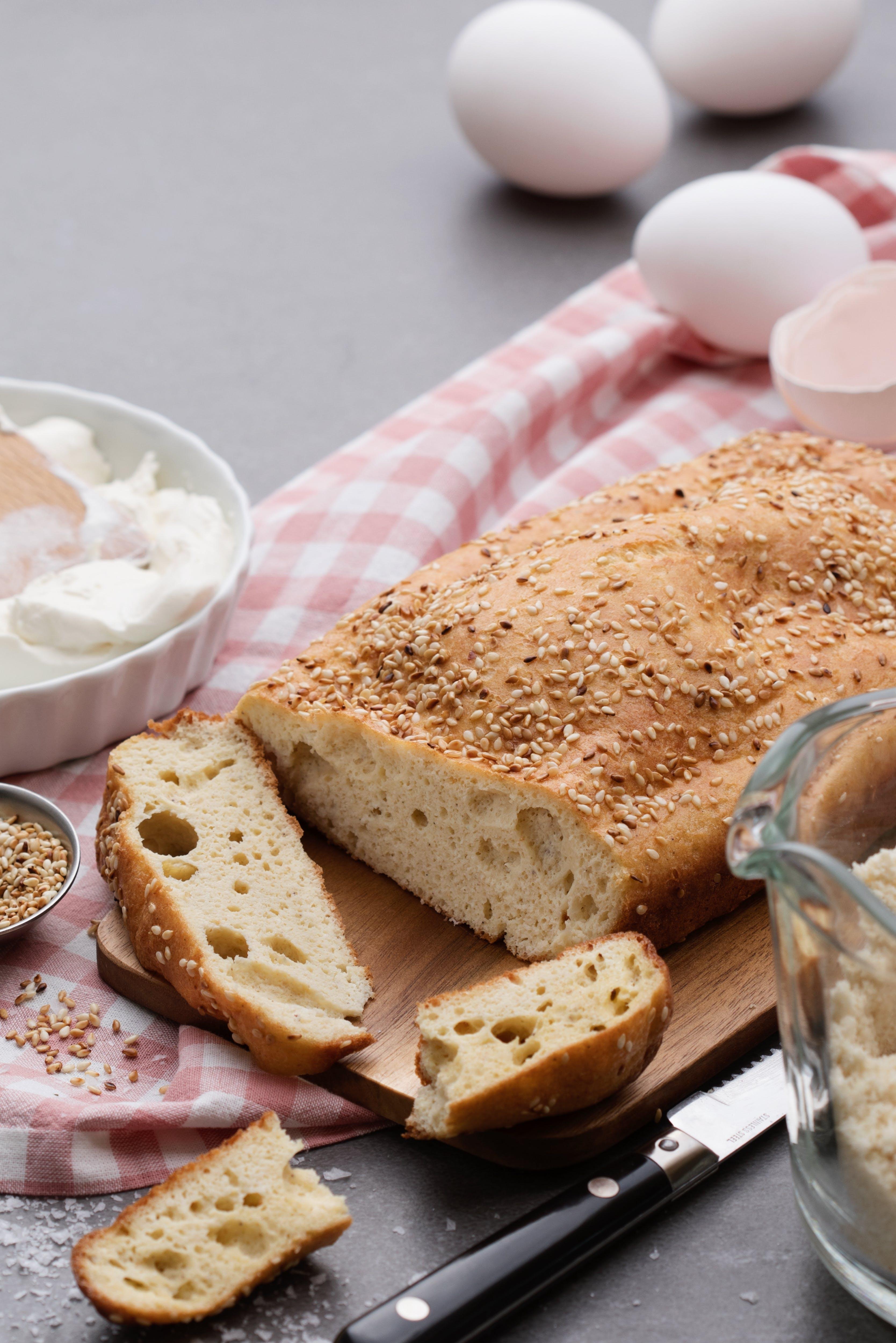 Golden keto sesame bread