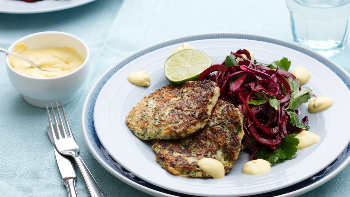 Zucchini fritters with beet salad
