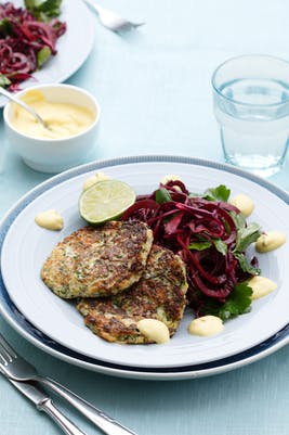 Zucchini fritters with beet salad<br />(Dinner)