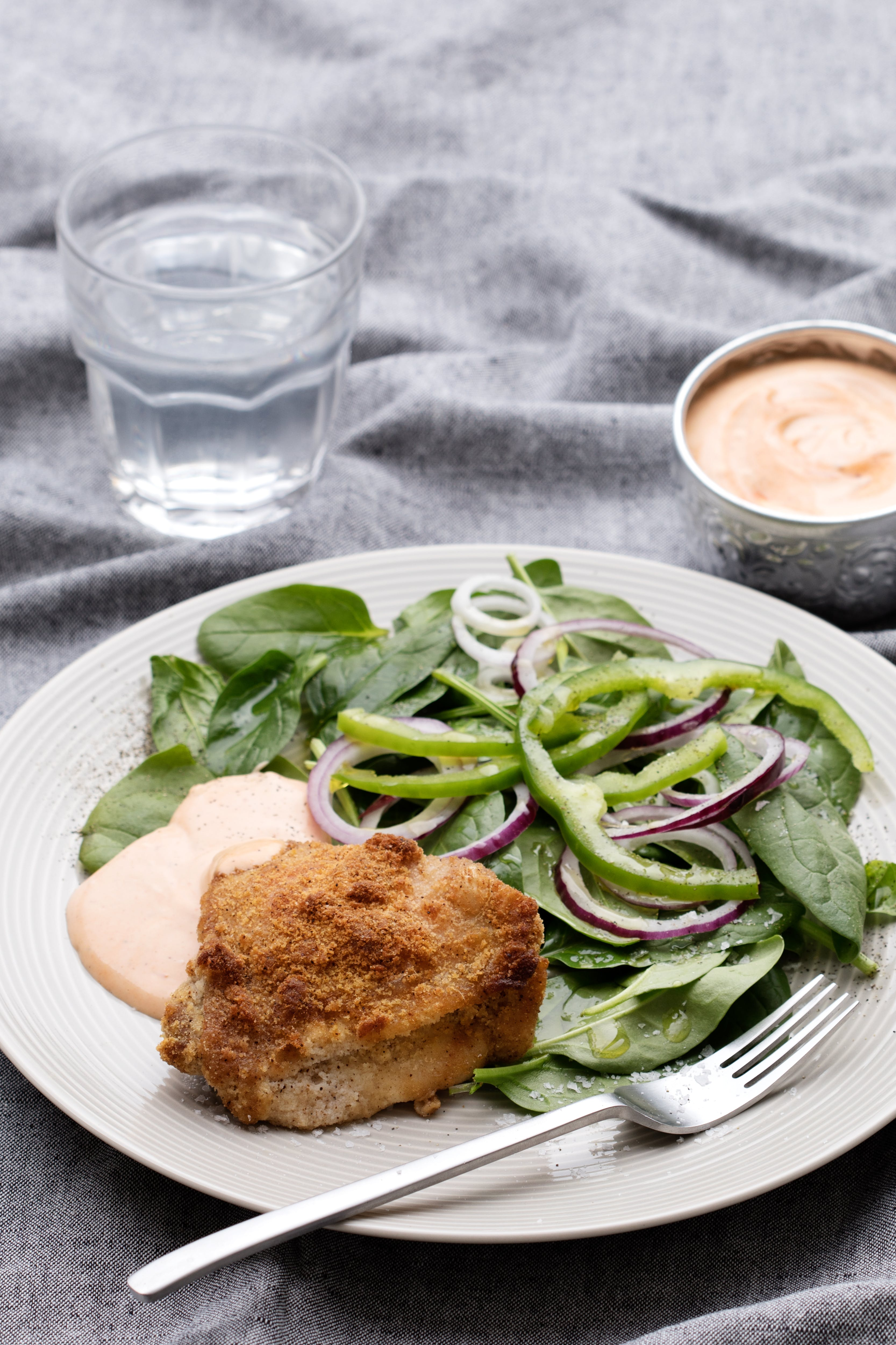 Crispy baked keto chicken with BBQ mayo