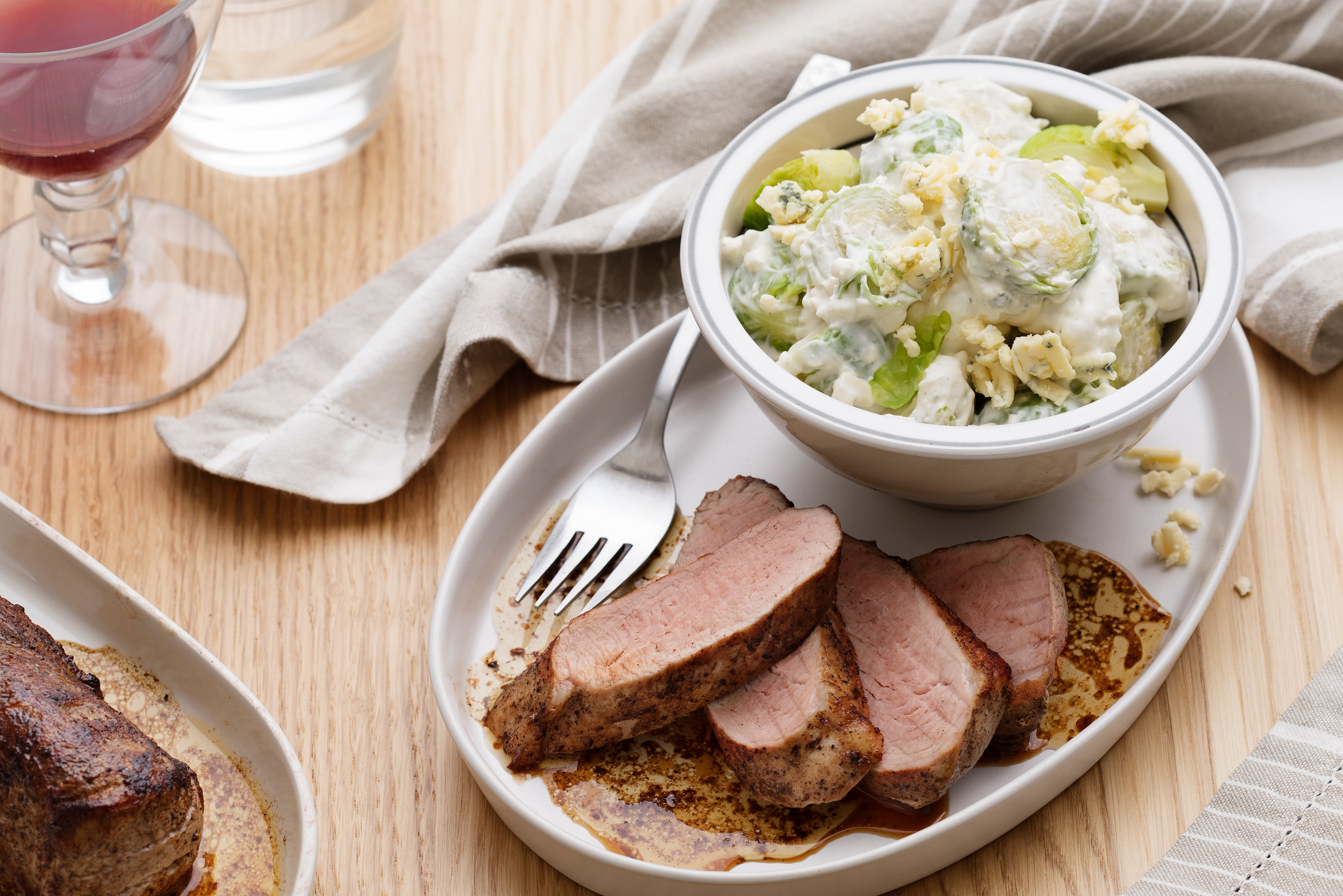 Pork loin roast with blue cheese sprouts