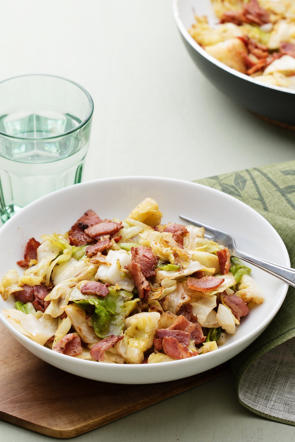Fried cabbage with crispy bacon