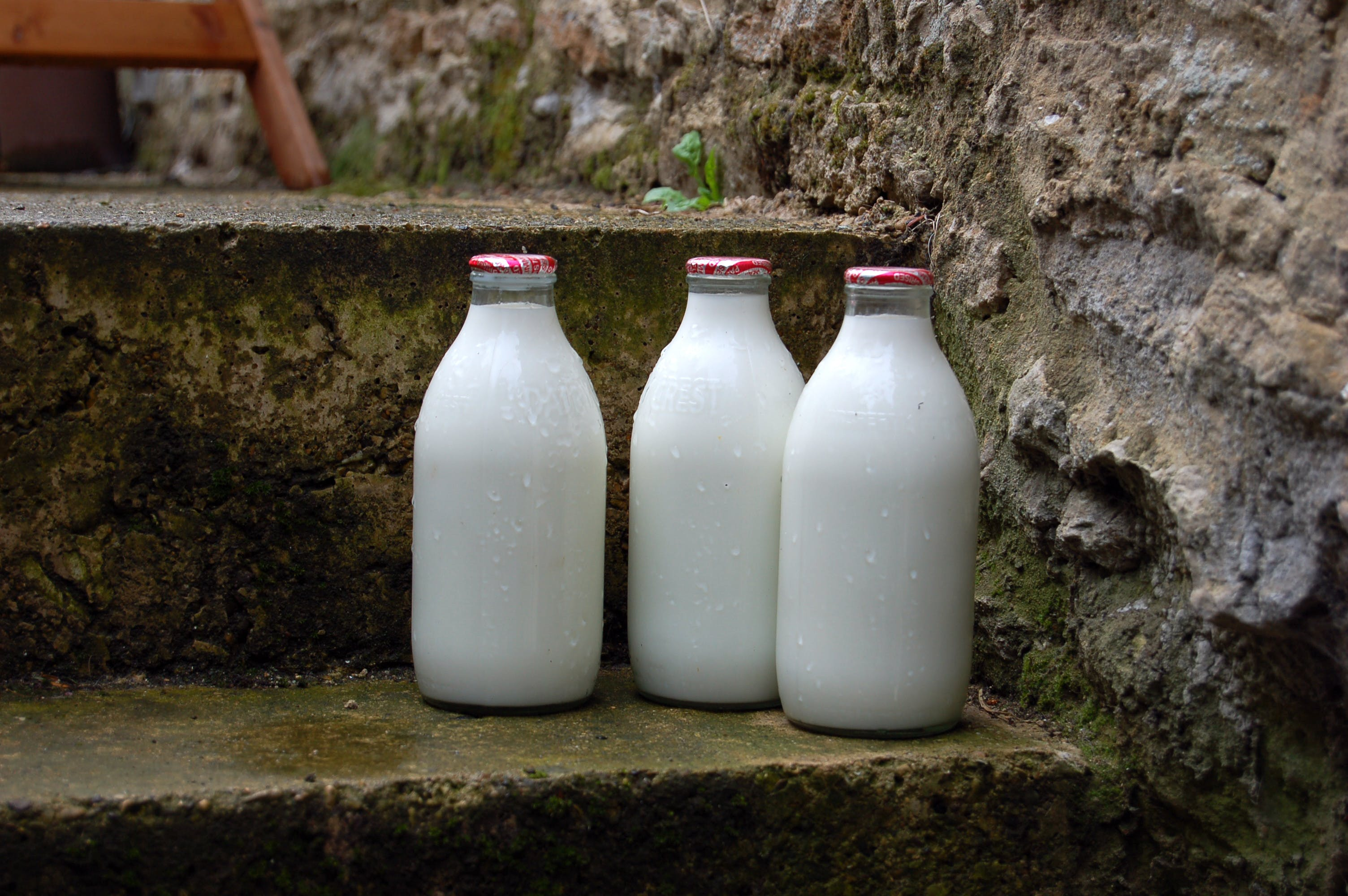 morning milk bottles on door step