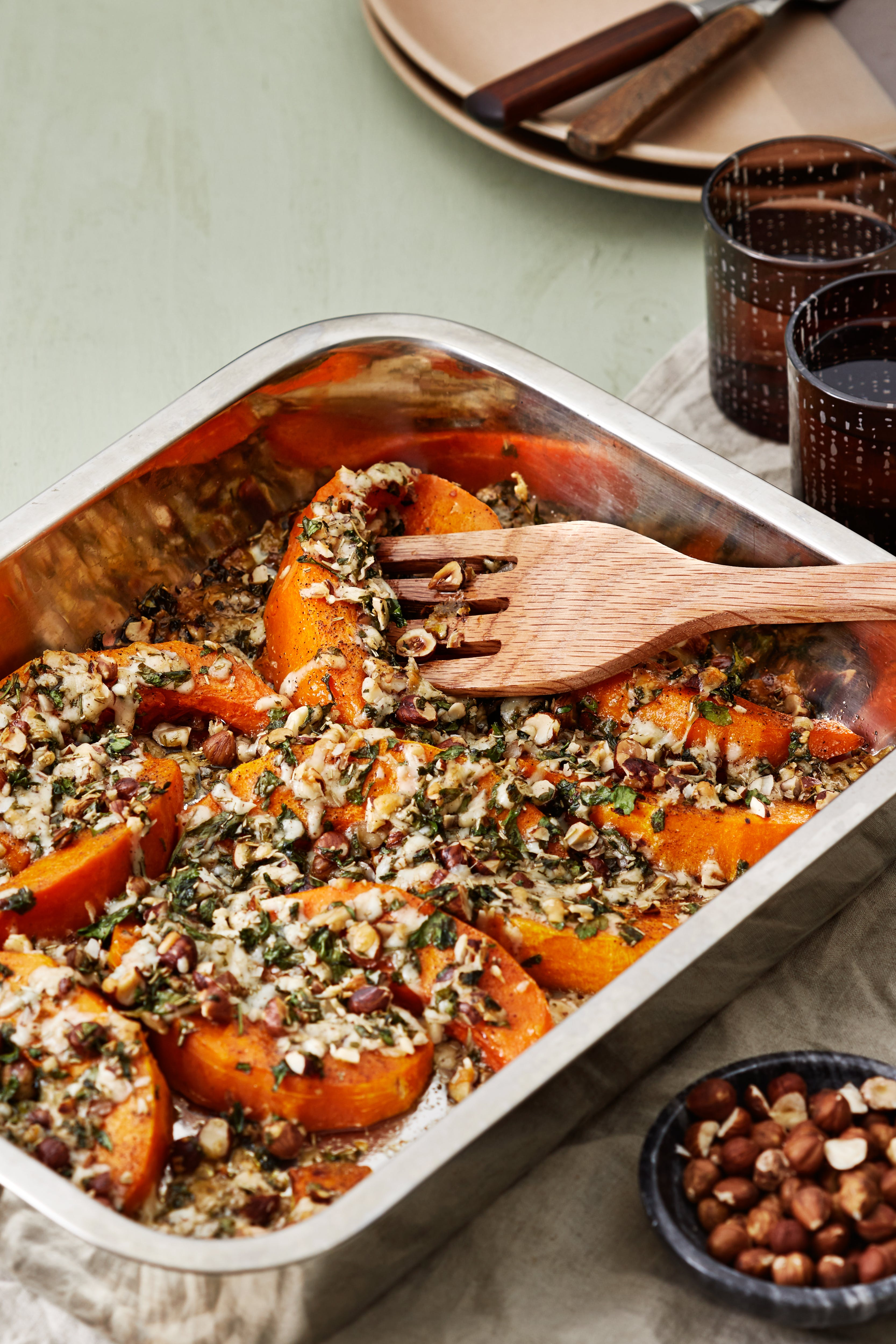 Roasted pumpkin with nuts and manchego cheese