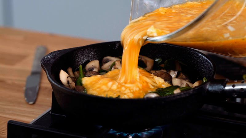 蘑菇菜肉馅煎蛋饼