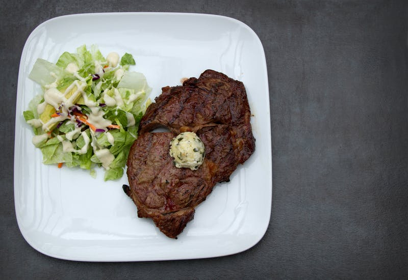 Ribeye Steak with Cilantro butter and a side salad Ketogenic meal