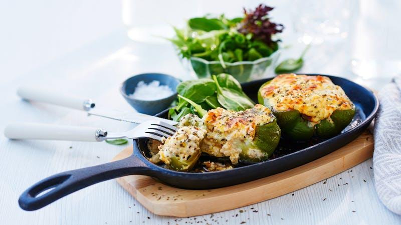 Feta cheese stuffed bell peppers