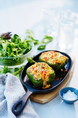 Feta cheese stuffed bell peppers<br />(Lunch)