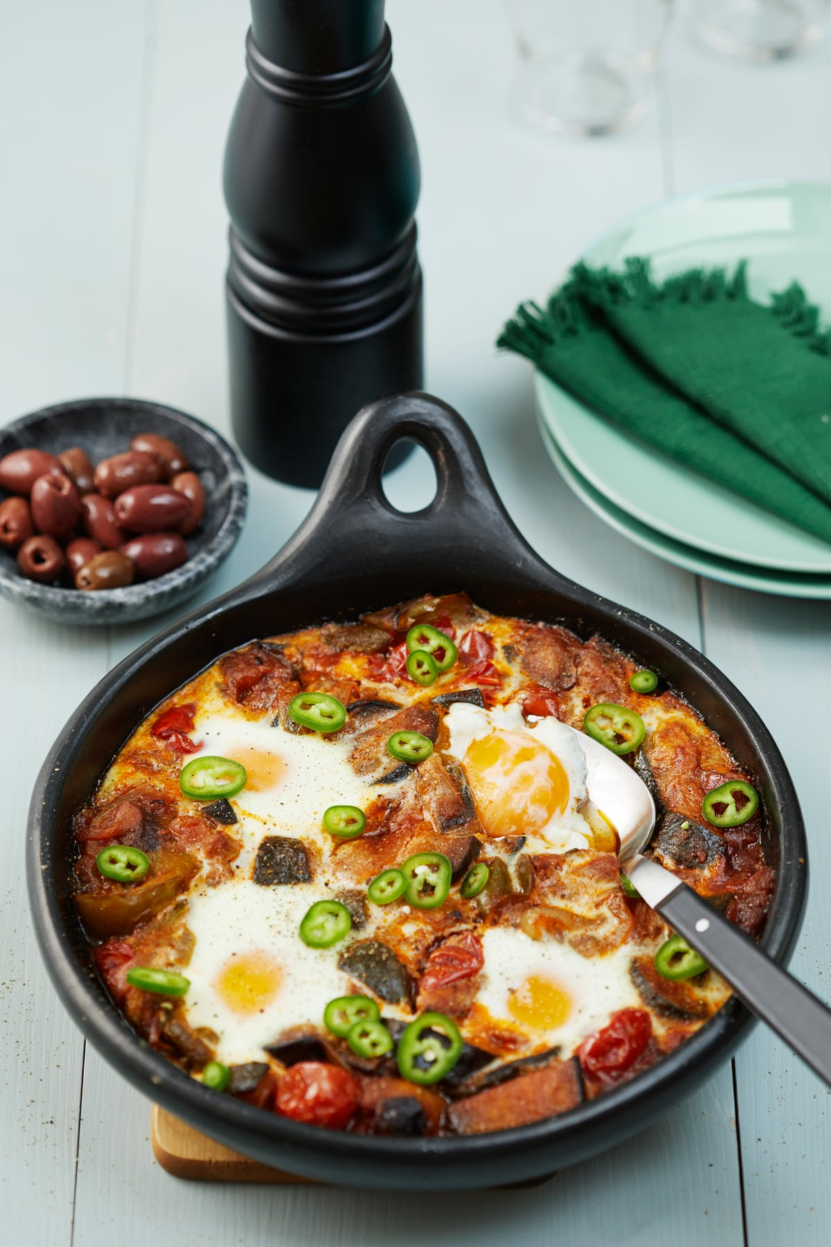 Ratatouille with baked eggs