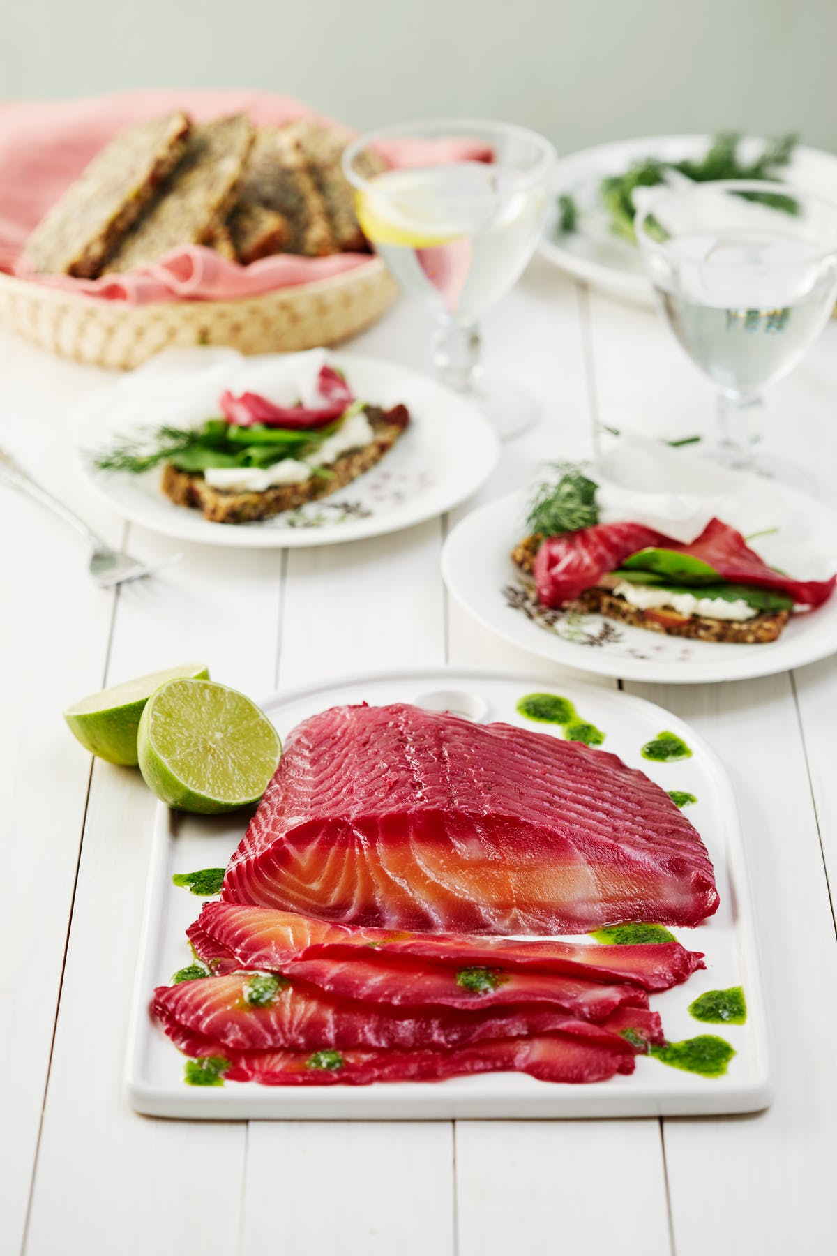 Beetroot-cured salmon with dill oil