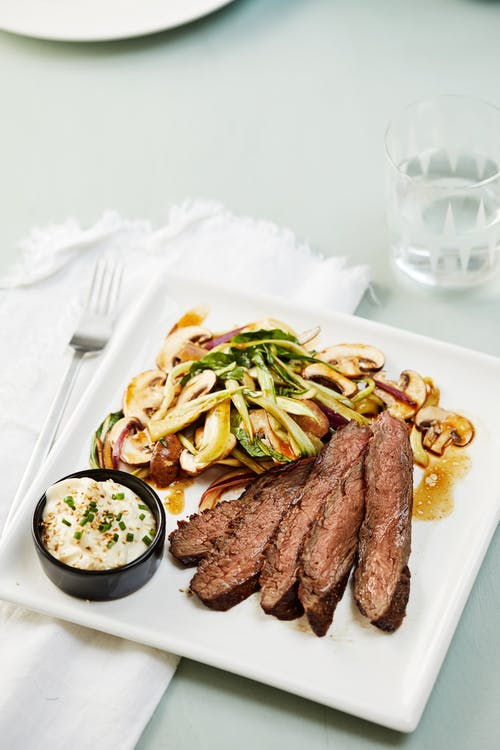 Flank steak with mushroom salad and sesame mayo