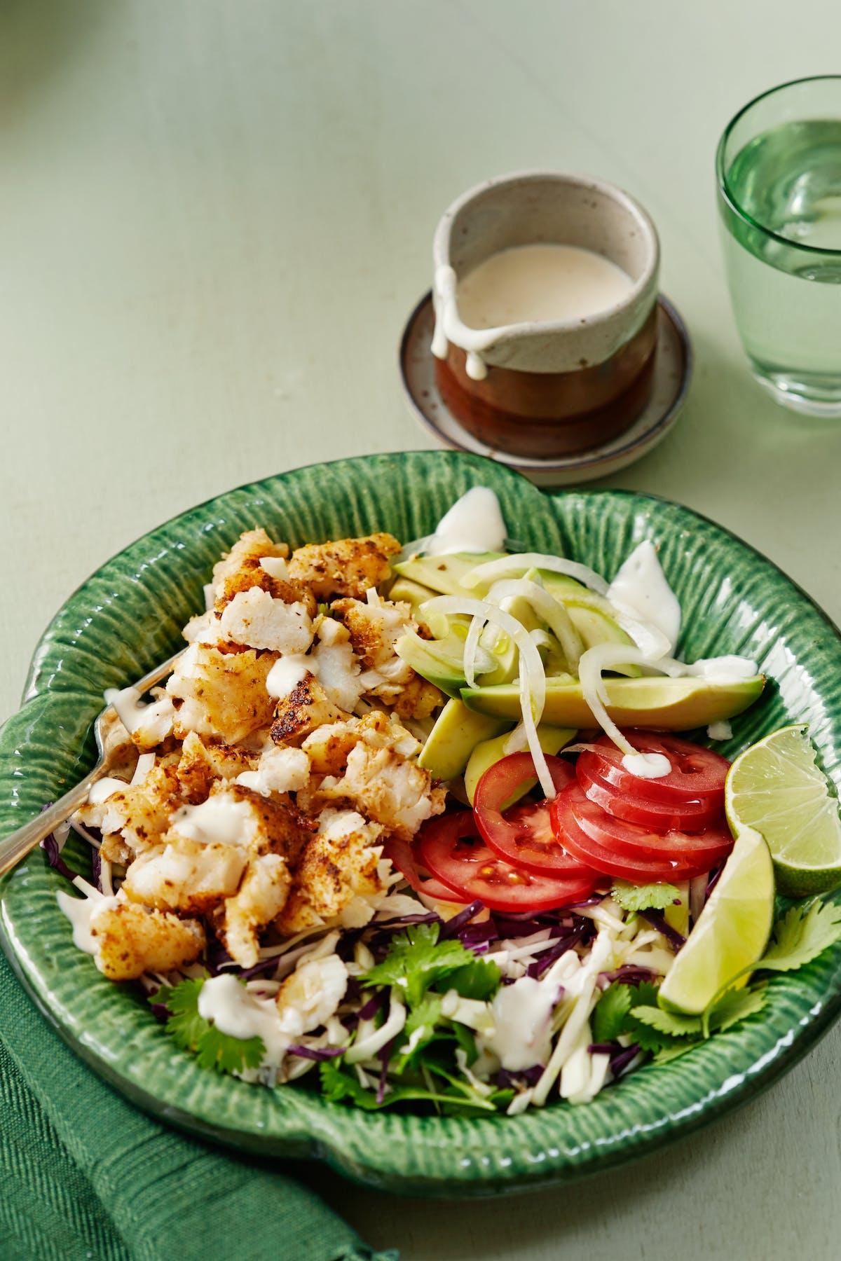 Low-carb fish taco bowl