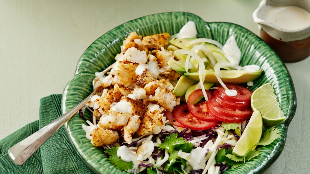 Low-carb fish taco bowl