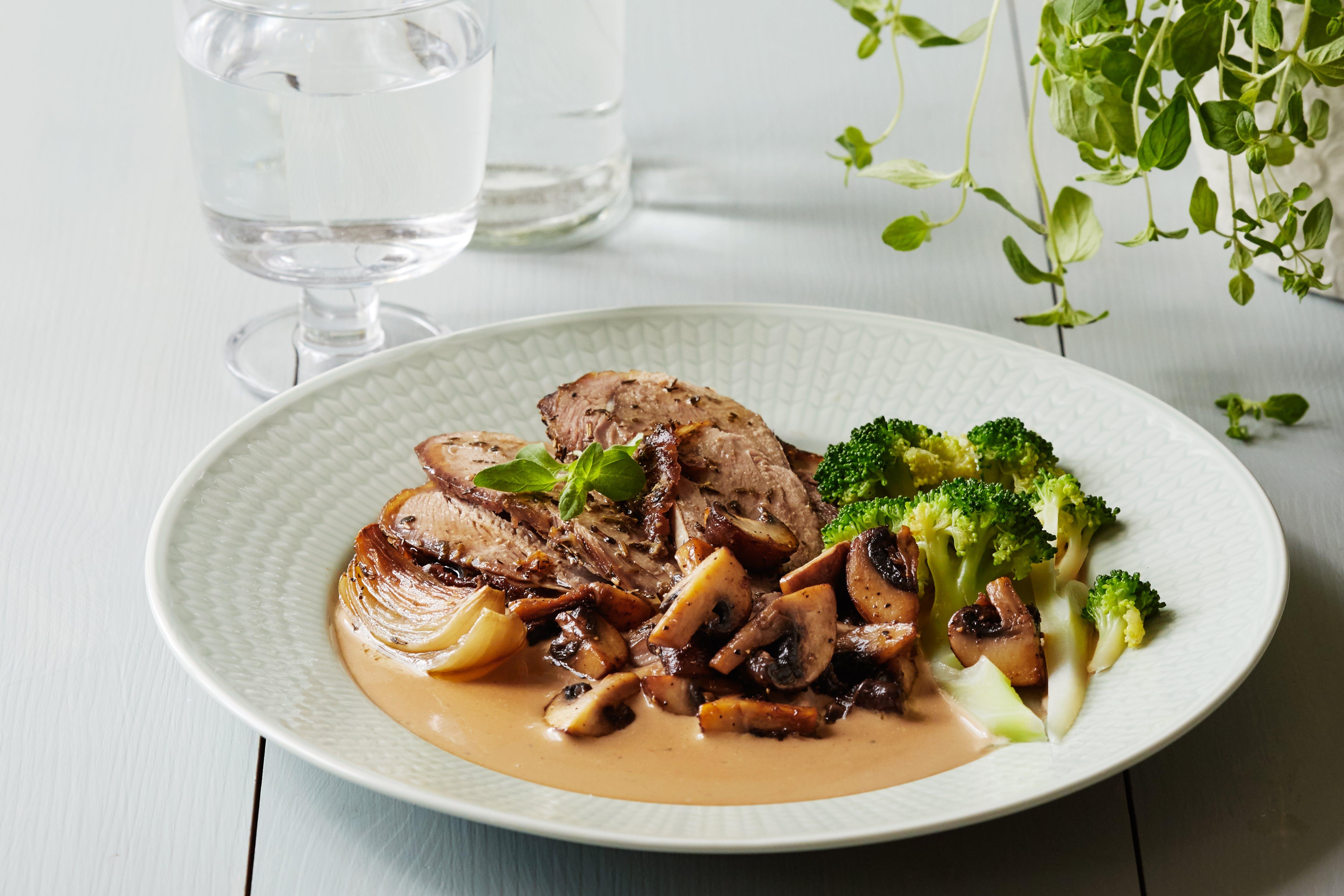 Oven-roasted turkey thighs with mushroom sauce