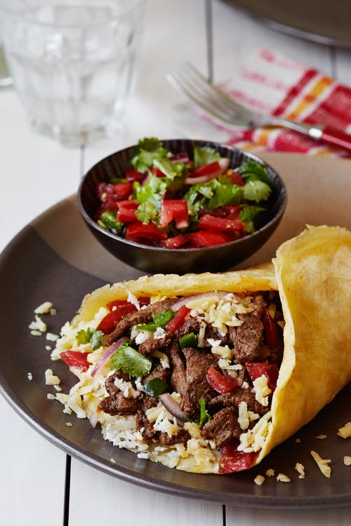 Keto beef burrito with Pico de Gallo
