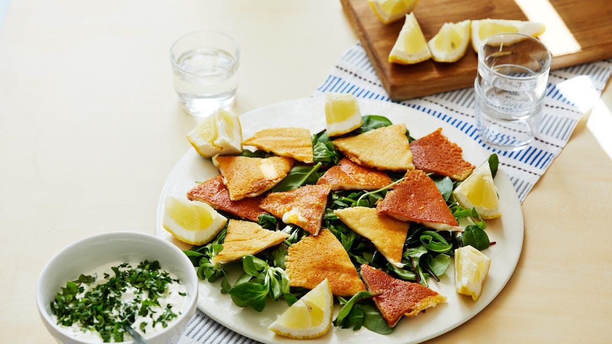 Saganaki salad with mint dip