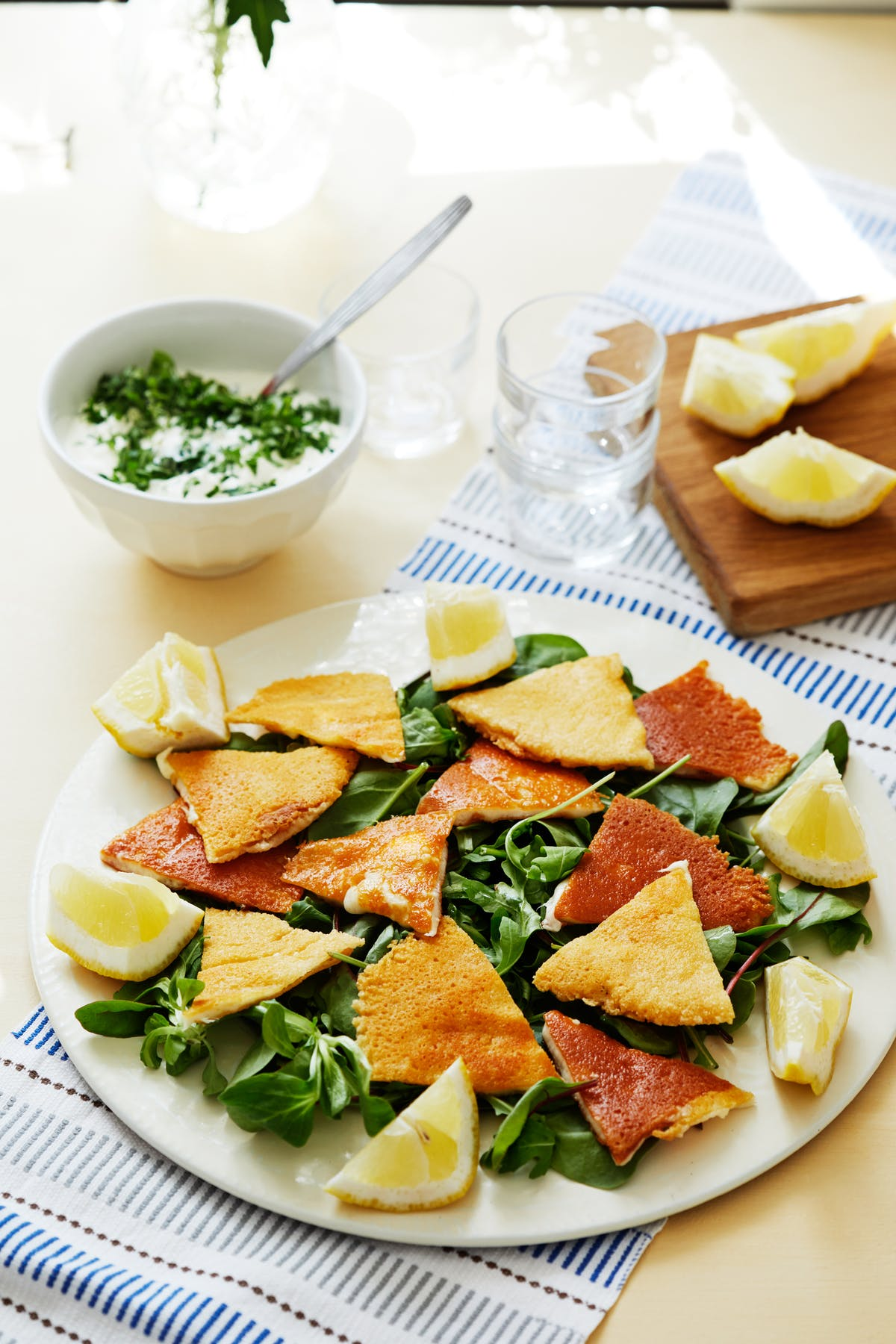Saganaki salad with mint dip