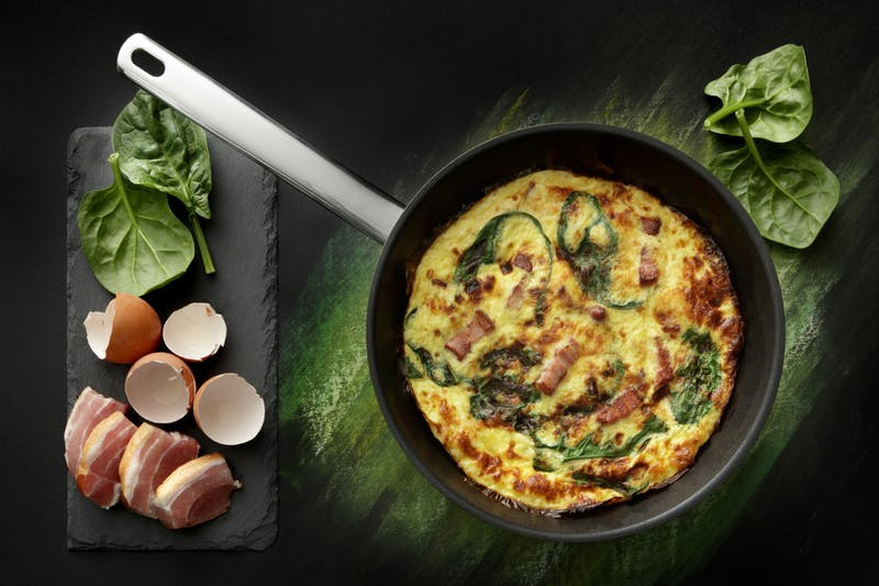 Eggs: Frittata with Bacon and Spinach Still Life