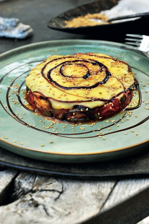 Zucchini, tomato and cheese carpaccio