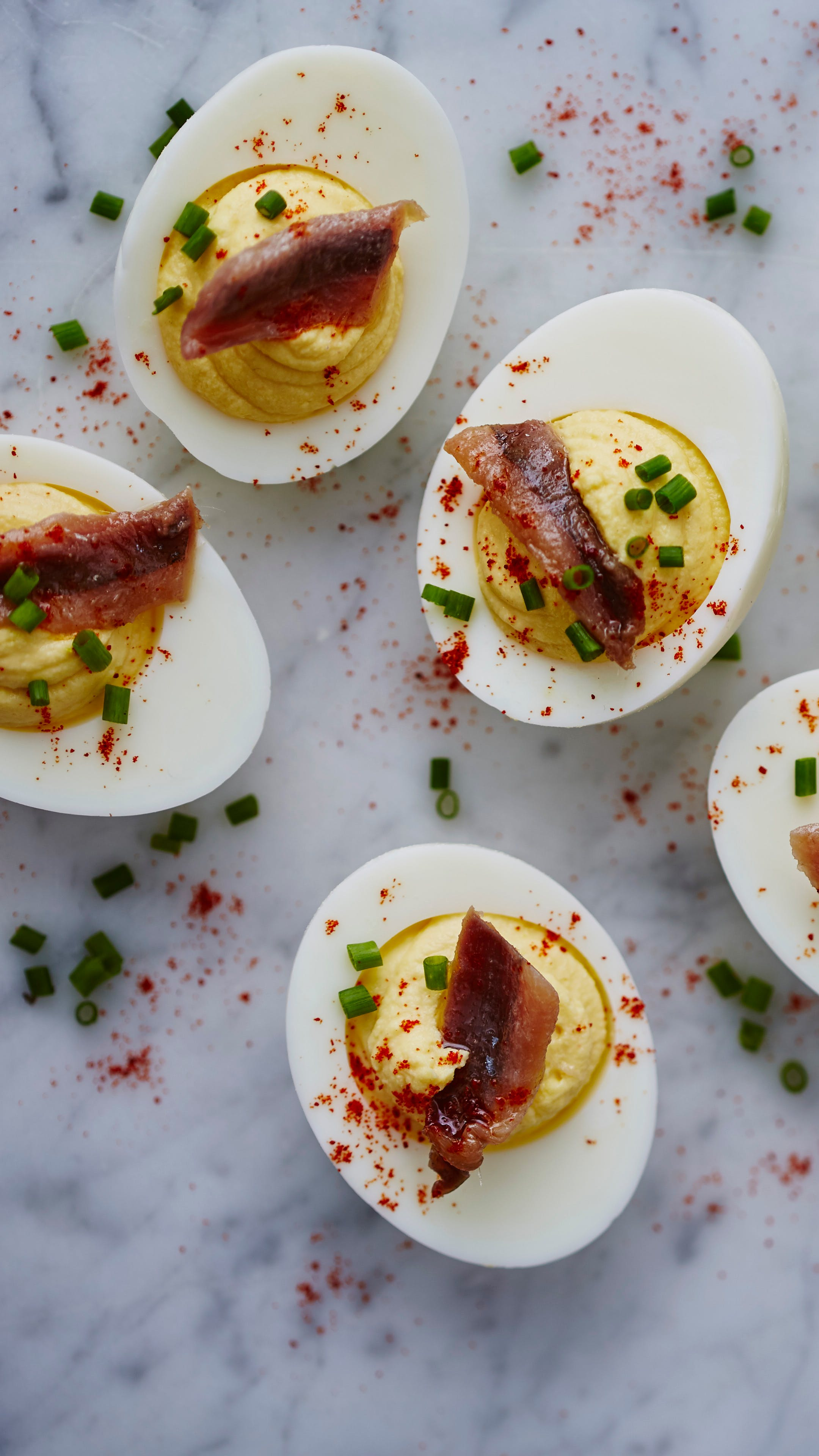 Deviled eggs with anchovies and rosemary