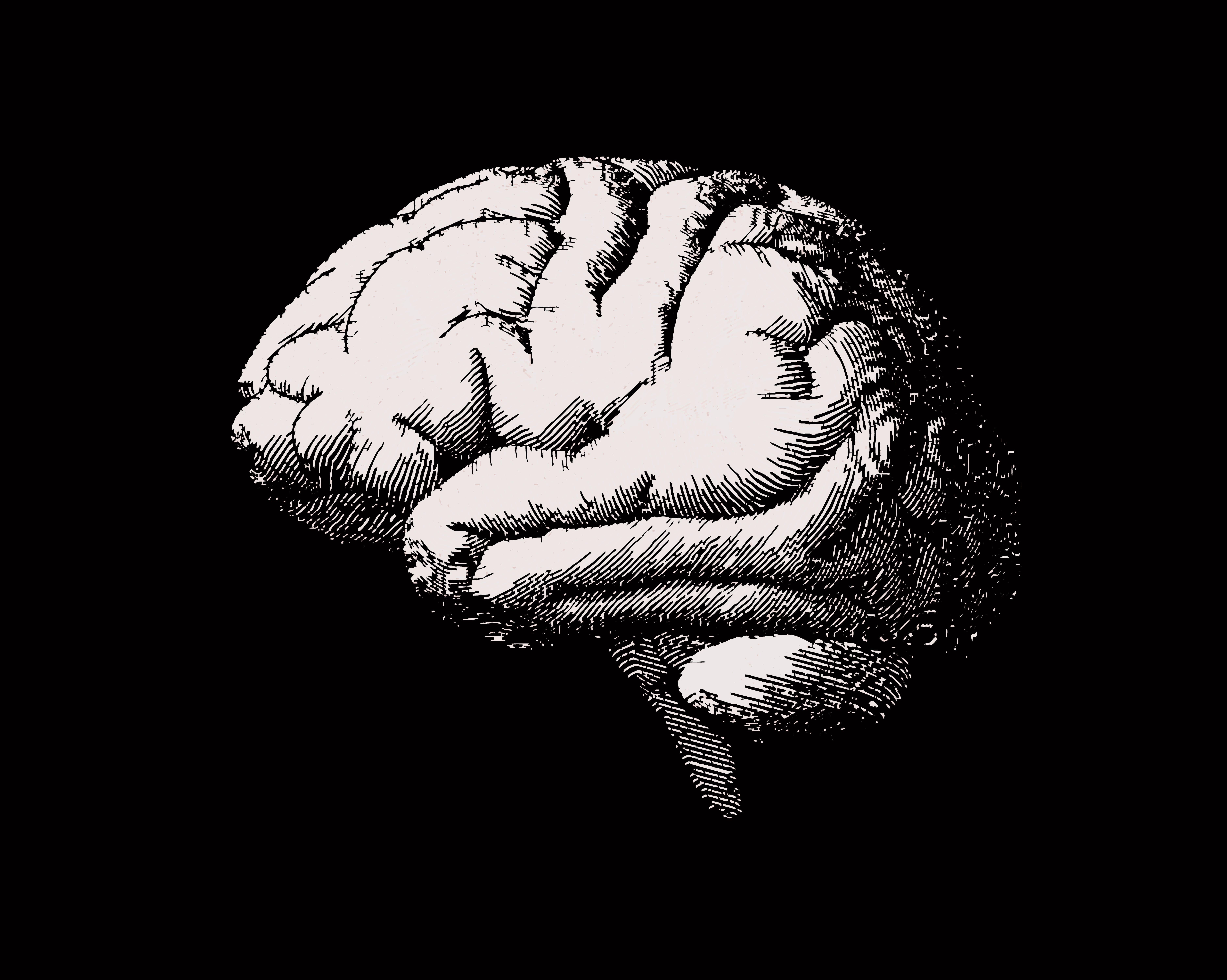 Engraving brain side view illustration on black BG
