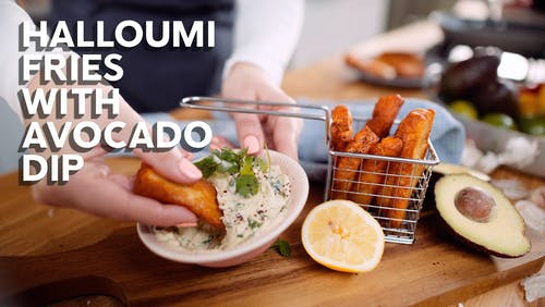 Halloumi fries with avocado dip
