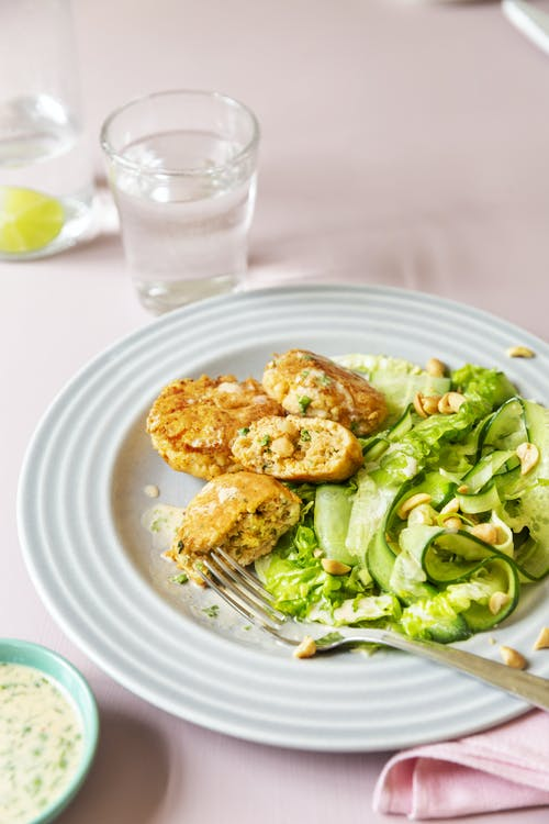 Keto crab cakes with cucumber salad