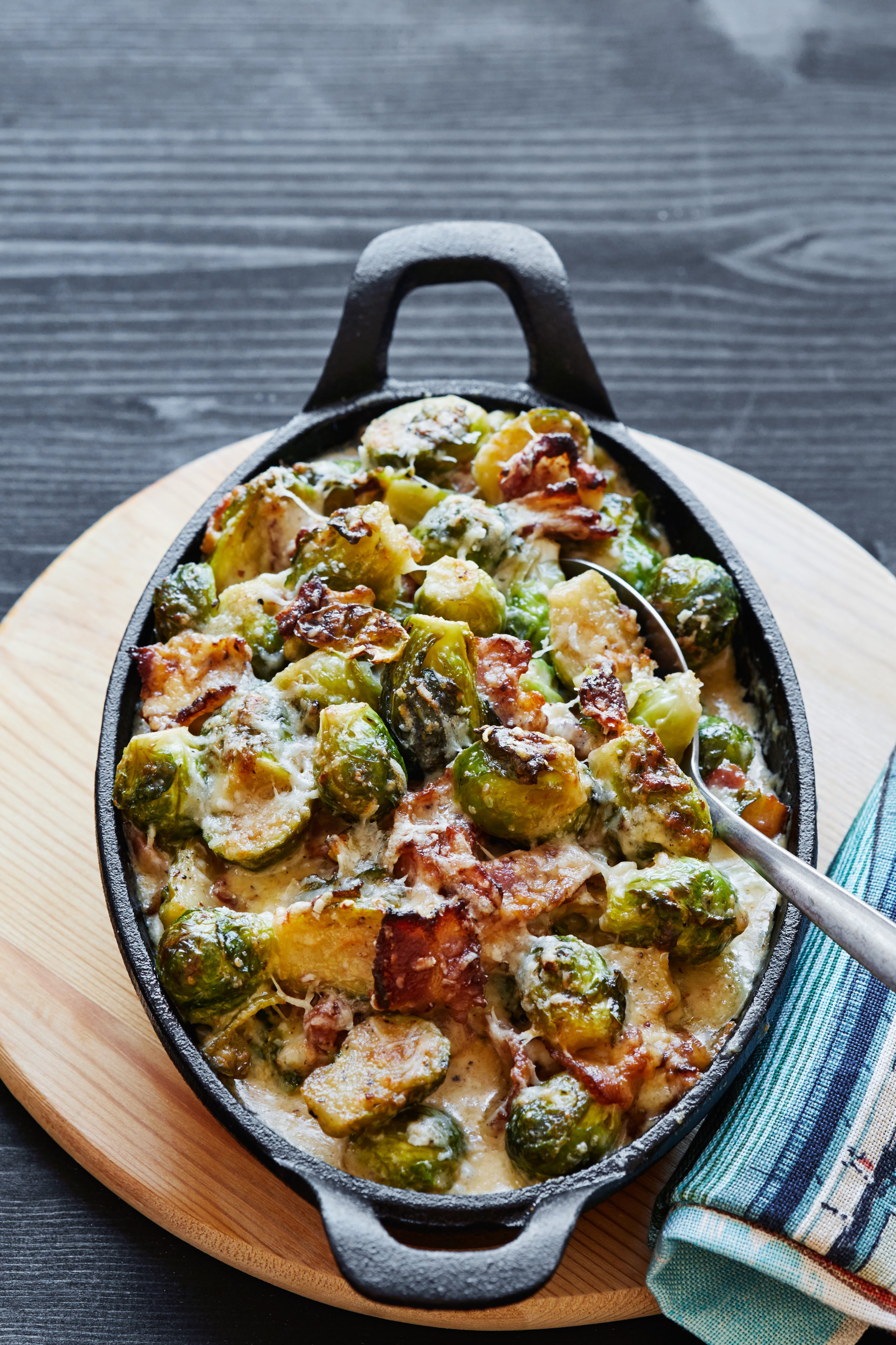 Brussels sprouts and bacon in a creamy parmesan sauce