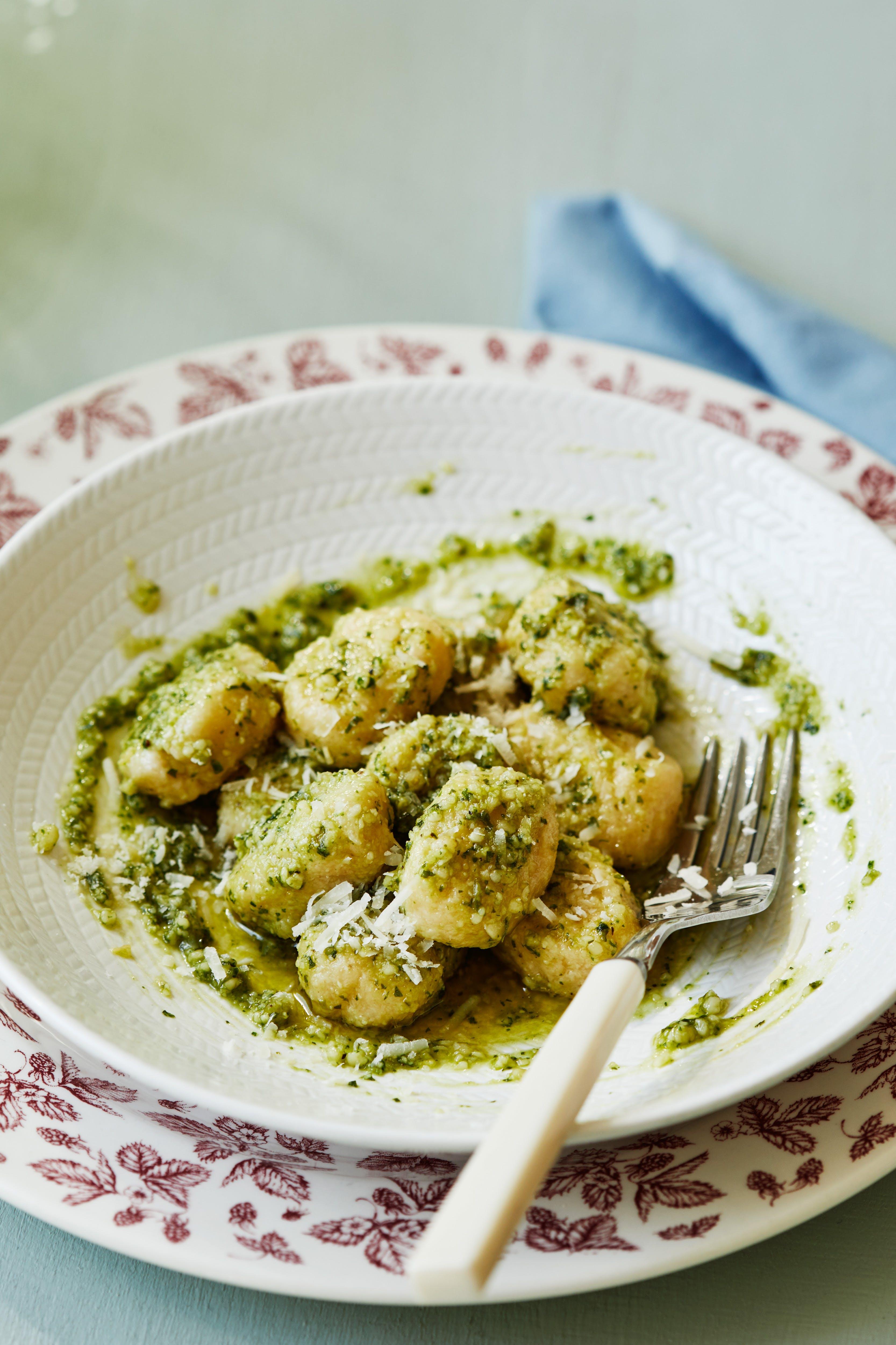 Keto gnocchi with homemade basil pesto