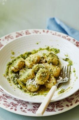 Keto gnocchi with homemade pesto