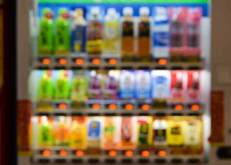 Soft drink vending machine defocus background