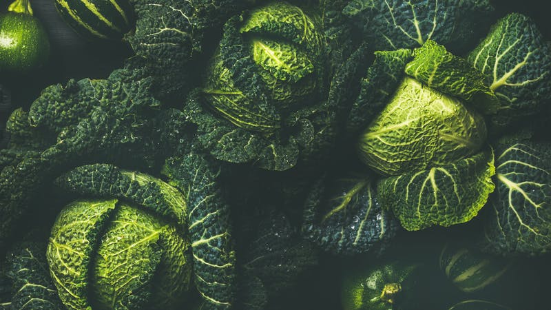 Raw fresh green cabbage texture and background, top view