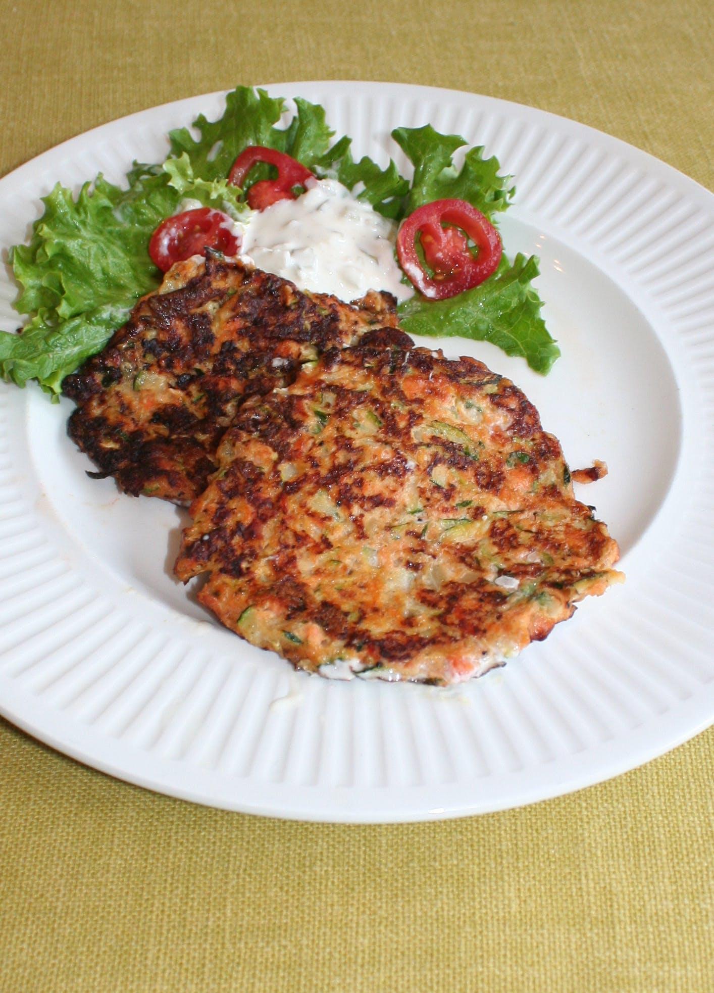 Keto zucchini salmon fritters