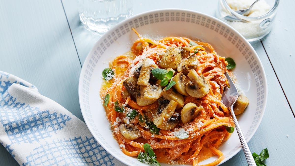 Butternut pasta with tomato sauce and garlic mushrooms