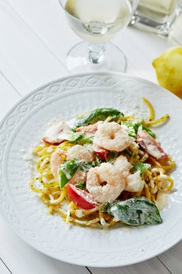 Rutabaga pasta with creamy shrimp sauce