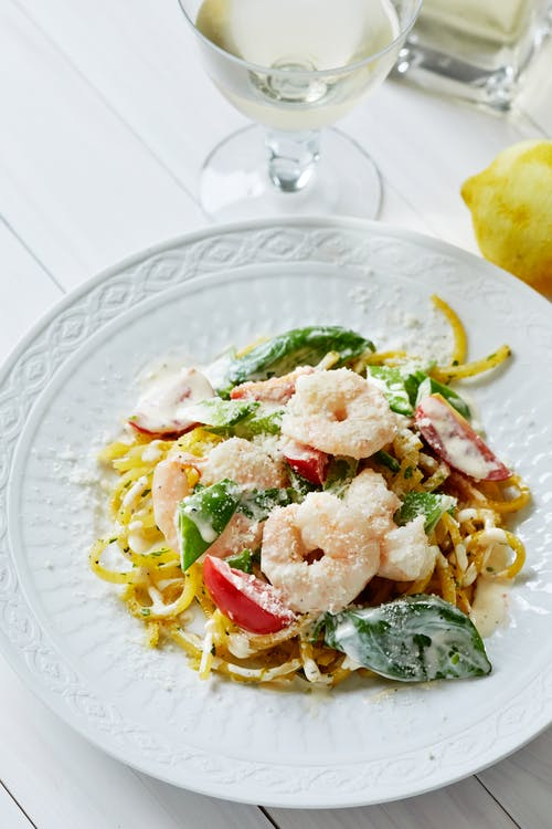 Rutabaga pasta with creamy shrimp sauce