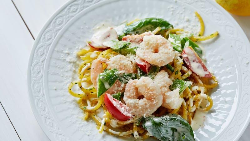 Rutagaba pasta with creamy shrimp sauce