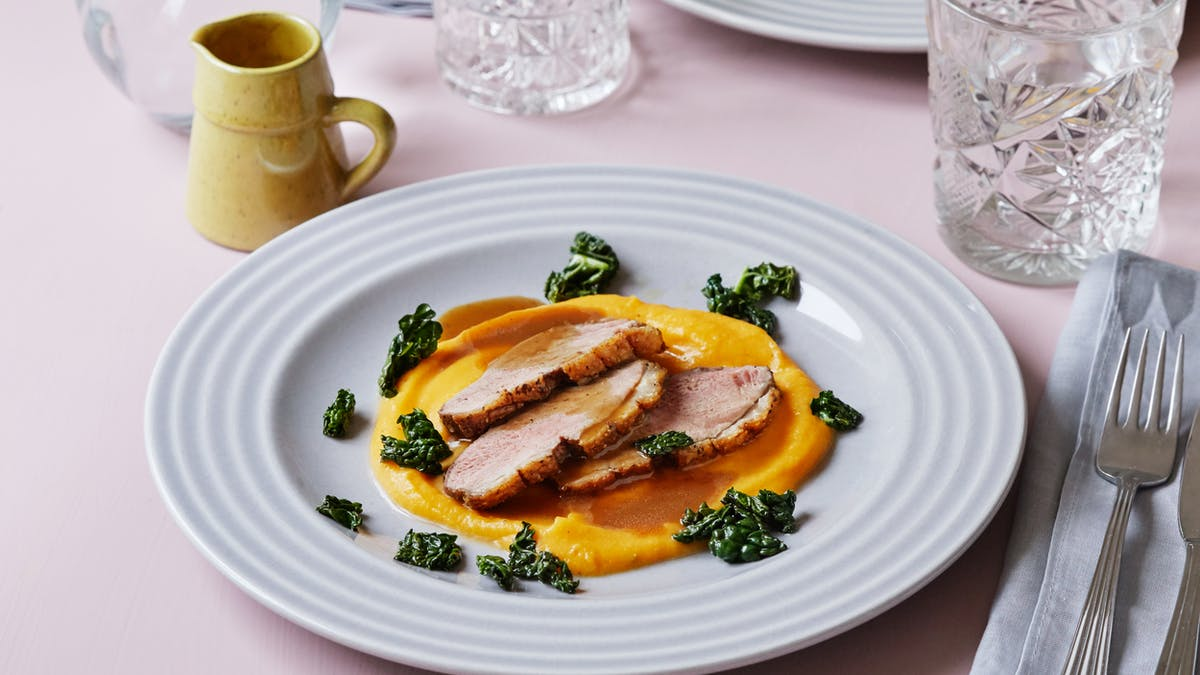 Duck breast with butternut puree and gravy