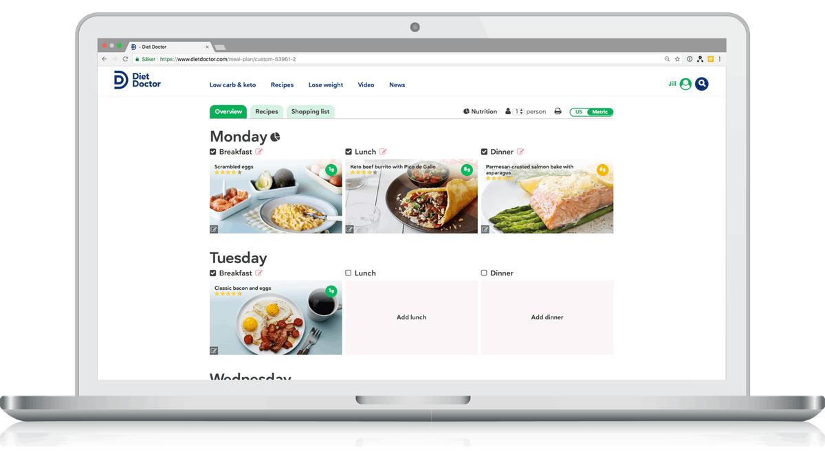 Meal planner for the keto diet