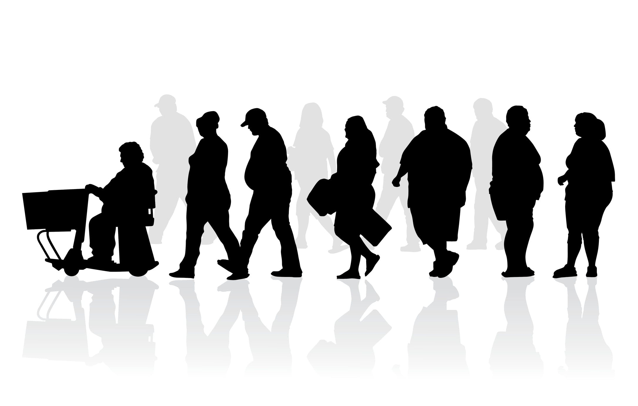 Overweight and obese people silhouette illustration