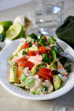 Seafood salad with avocado