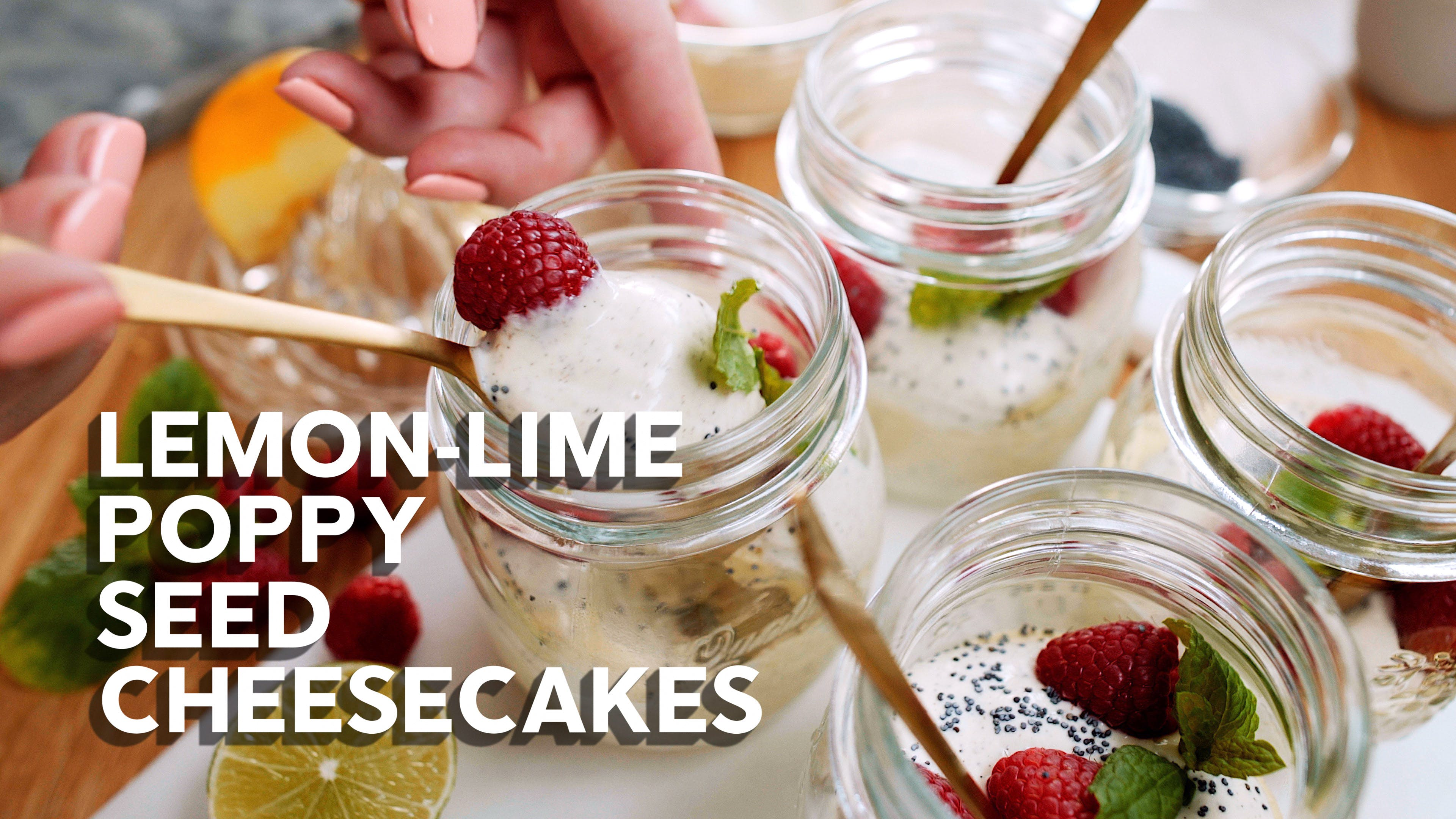 Lemon-lime poppy seed cheesecakes