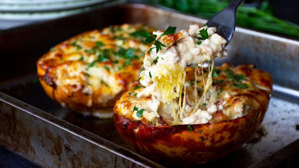 Keto cheesy chicken spaghetti squash