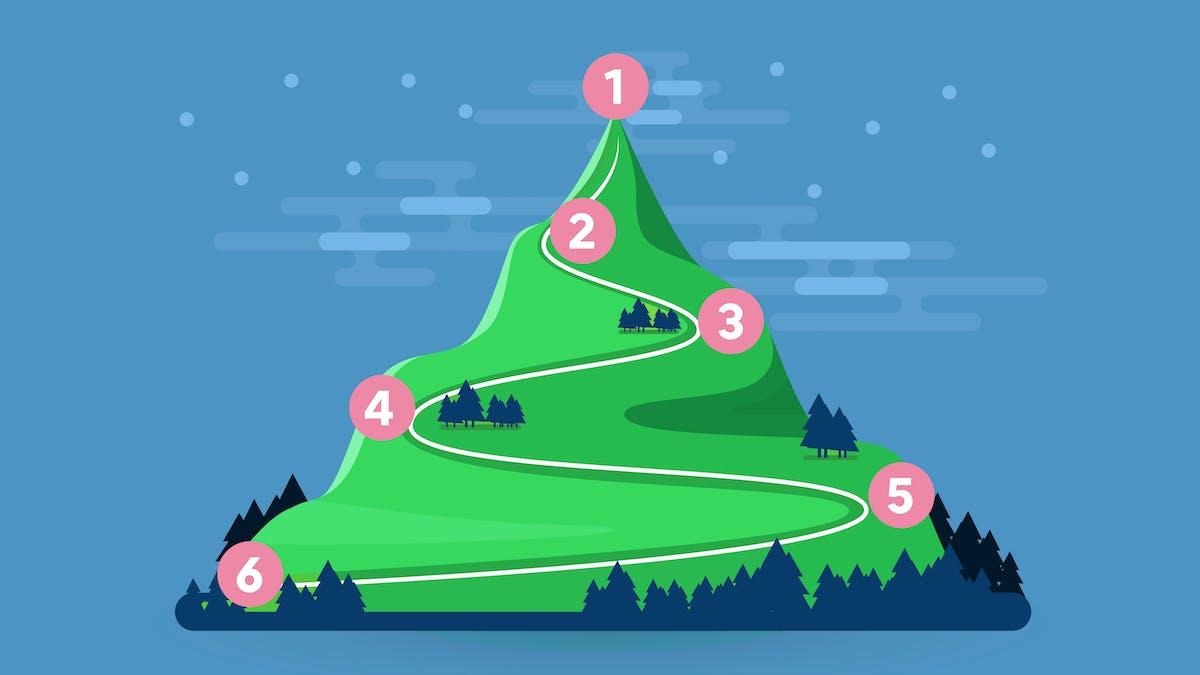 Six étapes en bas de la montagne