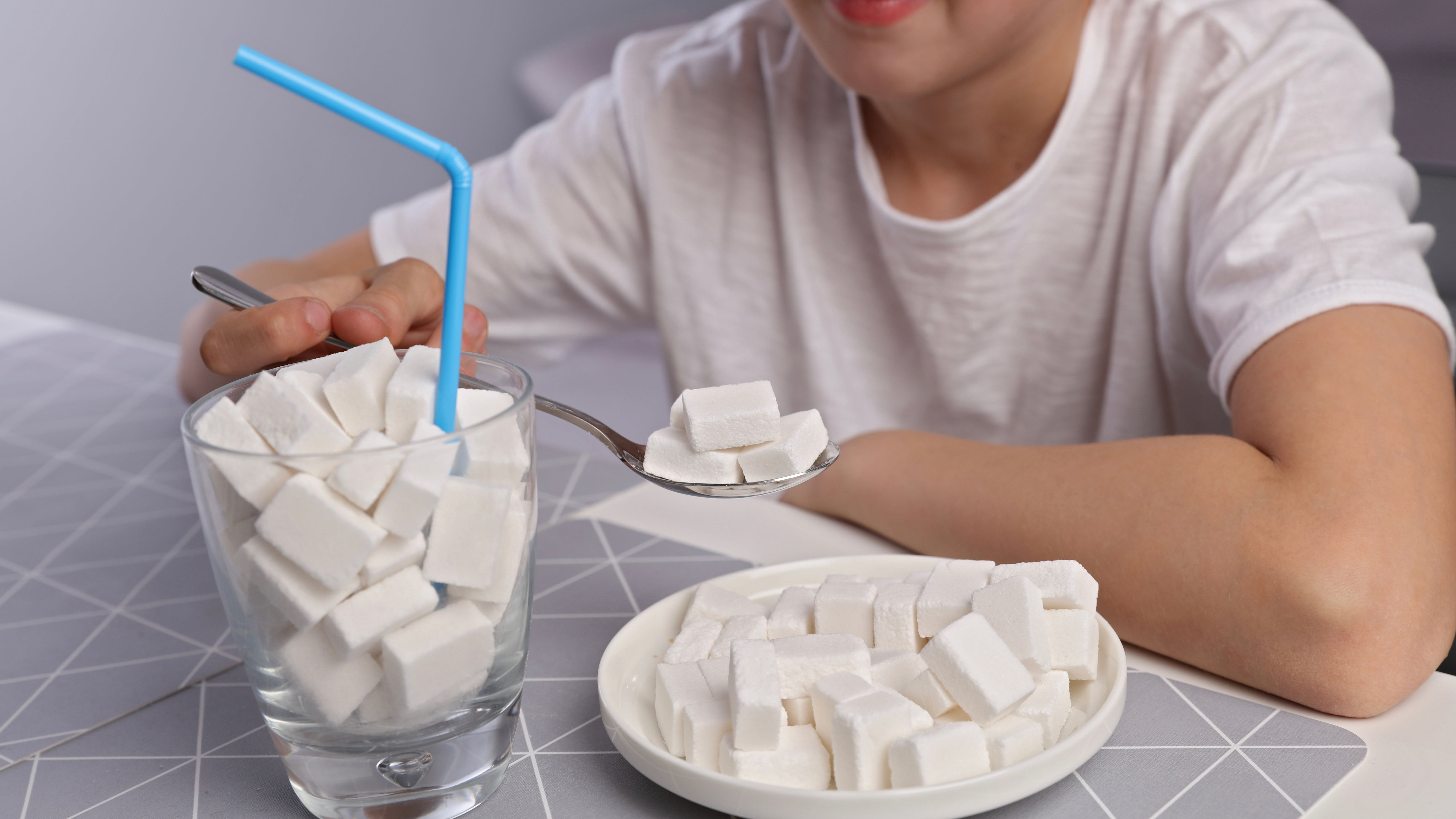 Simple carbohydrates,food with hidden sugar, kids and sugar addiction, diabetes. Children bad eating habits, health care concept