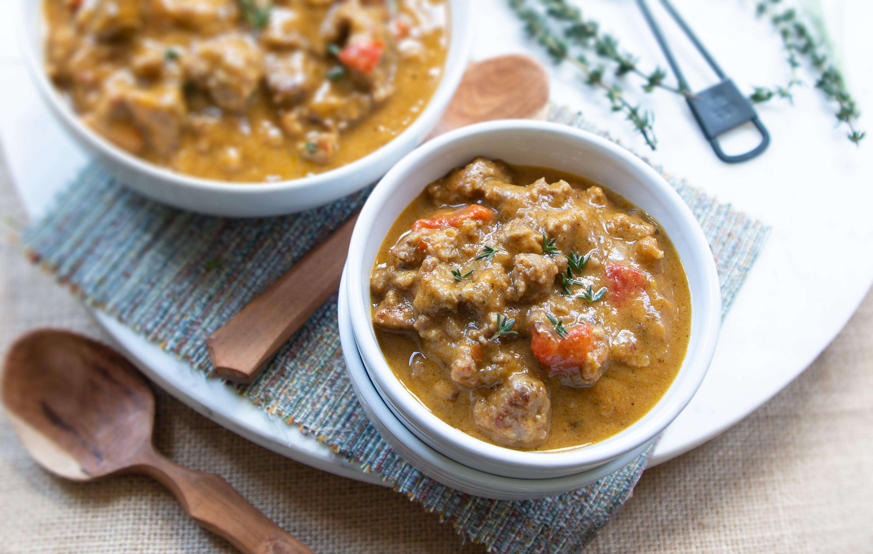 Keto harvest pumpkin and sausage soup