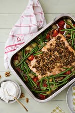 One-pan salmon with crispy herb and walnut crust