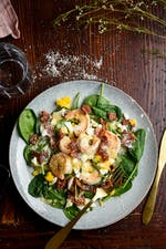 Shrimp salad with hot bacon fat dressing