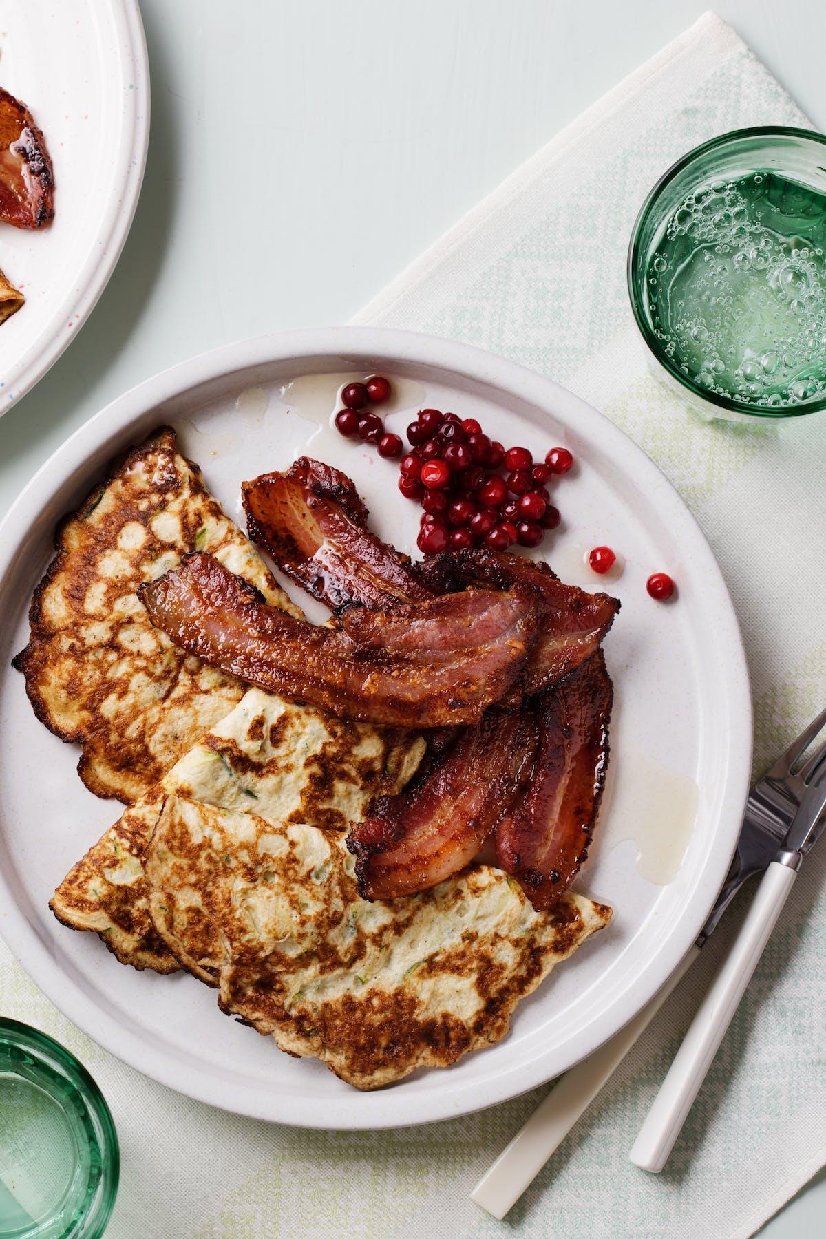 Keto fauxtato pancakes with bacon