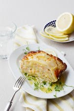 Smoked salmon and kohlrabi gratin